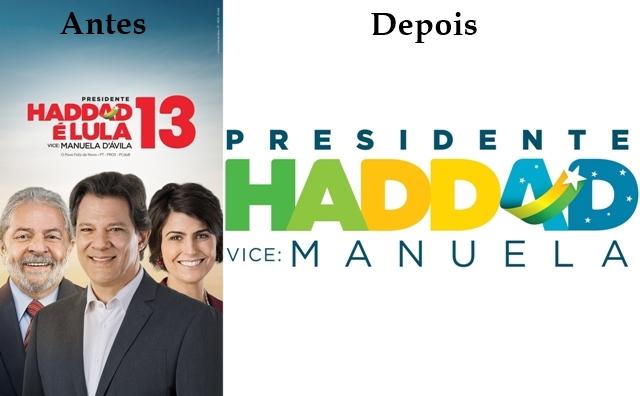 1355a33e00d91 O presidenciável do PT Fernando Haddad mudou radicalmente a logomarca de  campanha para o segundo turno